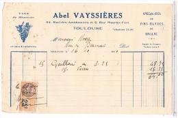 Lettre Facture  VINS DU MINERVOIS  ABEL VAYSSIERES 1930 24 R DES AMIDONNIERS TOULOUSE.... FAC38 - Alimentaire