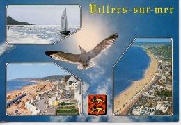 Villers Sur Mer Multivues : Plage Front De Mer Aérienne Goeland Blason (ed Le Goubey) - Villers Sur Mer