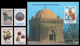 Tajikistan 1999 Mih. 156/59 + 160 (Bl.15) Samanid Empire MNH ** - Tadschikistan