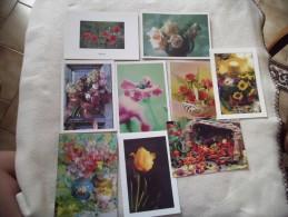 LOT DE 9 Cartes Illustrations De Fleurs ....... - Cartes Postales