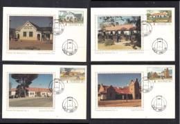 Transkei 1983 Post Offices Set Of 4 Silk Maxicards, Photo M. Burns, CALA C.d.s.. Set No 266 (of 500) - Transkei