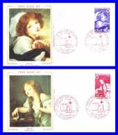 1700-1701 (Yvert) Sur 2 FDC (GF-PJ) Tournus - Jeune Fille Au Petit Chien. L´oiseau Mort (Greuze) - France 1971 - FDC