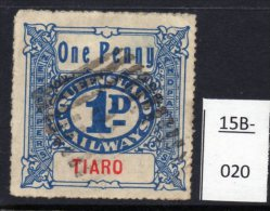 Queensland 1923->  Railway Parcel 1d TIARO Used.  New Discovery. - Trains
