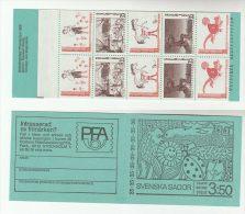 1969 SWEDEN FAIRY TALES BOOKLET  10 X Stamps CATS HORSE SHEEP MONKEY Etc Illus BEAR MOOSE LADYBIRD  Cat Horses - Gatti
