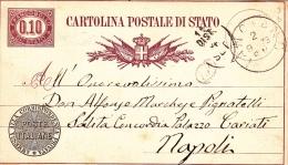 """Postkarte 1877 Filagrano C 3 Von """"LANCIANO"""" Nach Napoli (x133) - Postwaardestukken"""