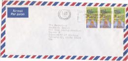 NIGERIA Air Mail COVER 3x 50k TELECOM EXHIBITION Stamps  To Usa - Telecom