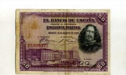 - ESPAGNE 1928 . BILLET 50 P. 1928 . - [ 1] …-1931 : Primeros Billetes (Banco De España)