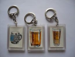 Lot De 3 Porte- Clés  Différents - BRASSERIE LA SEMEUSE - Chope-verres à Bière - Llaveros