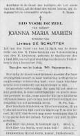 Doodsprentje - Joanna Maria Mariën / Zandhoven  / Pulderbos / 1936 - Overlijden