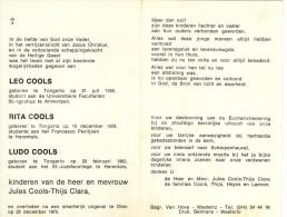 Doodsprentje - Leo Cools - Rita Cools - Ludo Cools / Smartelijk Ongeval In Olen / 1975 / Tongerlo / Westerlo - Décès