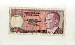 - TURQUIE . BILLET  100 L. 1970 . - Turchia