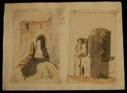 ( Gironde ) UNE PORTE DE BOURCQ - RUINES DE LA PORTE DE BLAYES à BOURCQ 1860 Aquarelles ( Bourg-en-Gironde) - Acquarelli