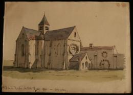 L'ABBAYE NOTRE-DAME DE LA ROCHE 1860 Aquarelle Originale ( Le Mesnil-Saint-Denis  Les Yvelines ) - Aquarelles