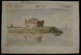 ( Blaye Gironde ) FORT-PÂTE Lamarque Et Saint-Estèphe Aquarelle Originale 1860 Vauban Fort-Médoc - Aquarelles
