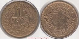 TUNISIA 1 Franc 1945 KM#247 - Used - Tunisia