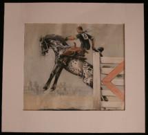 U.S.A. RODEO Bronc Riding Bronco Aquarelle Originale Par R.C. REYROLLES 1940 Cheval Equitation - Aquarelles