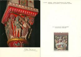 ALBERT MONIER  PHOTOGRAPHE  A 10 194 ISSOIRE EGLISE SAINT AUSTREMOINE  CHAPITEAU DE LA PASSION  AVEC TIMBRE POSTE CORRES - Monier