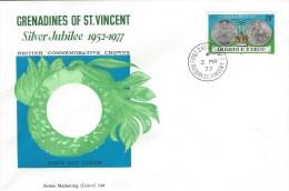 Grenadines Of St Vincent 1977 Bequia Silver Jubilee Royal Coin FDC Cover - St.-Vincent En De Grenadines