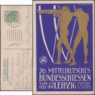 Allemagne 1911. Carte Entier Postal TSC. Rencontres De Tir. Archers, Tir à L'arc. Leipzig - Boogschieten