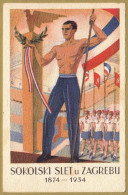 SOKOLSKI SLET ZAGREB 1874-1934 - HRVATSKA DOMOLJUBNA RAZGLEDNICA Croatia LITHO Patriotic Postcard - Croatia