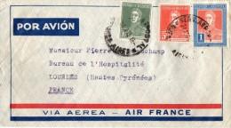 ENVELOPPE TIMBREE -   POSTE AERIENNE  -  AIR  FRANCE  -  BUENOS  AIRES -  ARGENTINE -  Destinataire LOURDES - Poste Aérienne
