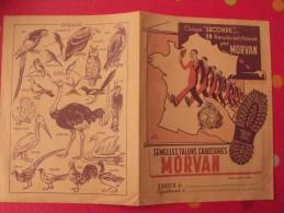 prot�ge-cahier chaussures Morvan. semelles talons. oiseaux. vers 1950.