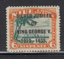 Niue MH Scott #69 SG #71a 6p R.M.S. Monowai With Silver Jubilee Overprint Variety: Narrow 'N' - Niue