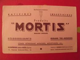 Buvard Mortis. raticides, insecticides, d�sodorisants, tue-mouches. Montreuil sous bois. vers 1950.