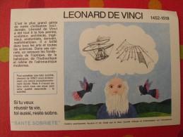 Buvard Santé Sobriété. Léonard De Vinci. Vers 1950. - Buvards, Protège-cahiers Illustrés