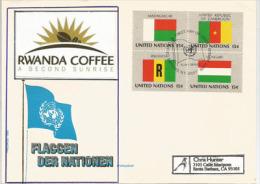 """RWANDA/RUANDA """"RWANDA COFFEE"""", Drapeaux Du Rwanda,Madagascar,Cameroun & Hongrie, Adressée En Californie - Covers"""