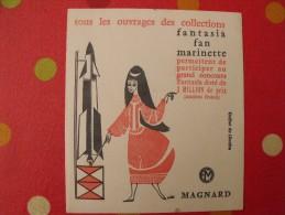 Buvard Magnard. livres collections fantasia, fan, marinette. fus�e. concours. vers 1950.