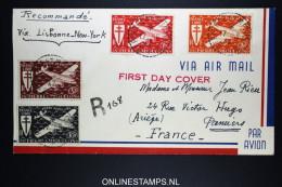 St Pierre Et Miquelon - Enveloppe FDC 17-8-1942  Ae 4 - 6 A R Lettre, Par New York - Lisbonne  A France - St.Pierre & Miquelon