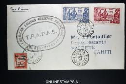 Nouvelle Caledonie 1er Vol NOUMEA  A Pepeete Tahiti  28-10-1947 TRAPAS  Yv 173 -174 + Taxe 8 - Nouvelle-Calédonie