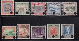 Niue MH Scott #106-#115 SG #125-#134 Set Of 10 Scenics Surcharged For Decimal Currency - Map, Ship, Cave - Niue