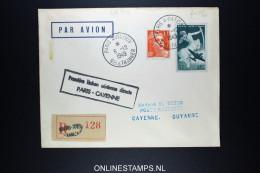 FRANCE CAYENNE AVEC CACHET PREMIERE LIAISON AERIENNE DIRECTE PARIS / CAYENNE -> REEXPEDIEE 6-12-1949
