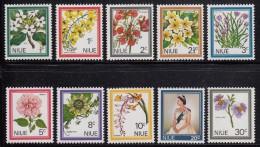 Niue MH Scott #122-#131 SG #141-#150 Set Of 10 Flowers, Elizabeth II - Orchid, Crocus, Hibiscus - Niue
