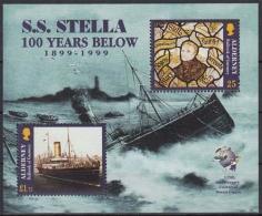 """Alderney MiNr. Bl. 5 ** 100. Jahrestag Des Untergangs Des Dampfers """"Stella"""" - Alderney"""