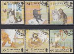 Alderney MiNr. 94/99 O Katzen - Alderney