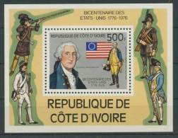 Elfenbeinküste 1976 200 Jahre Unabhängigkeit Der USA Block 6 Postfrisch (C27772) - Côte D'Ivoire (1960-...)