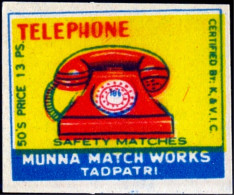 TELEPHONE-COMMUNICATION-MATCHBOX LABELS-SAFETY MATCHES-VINTAGE LABELS FROM INDIA-MB-128 - Boites D'allumettes - Etiquettes