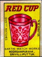 TEA-RED CUP-MATCHBOX LABELS-SAFETY MATCHES-VINTAGE LABELS FROM INDIA-MB-128 - Zündholzschachteletiketten