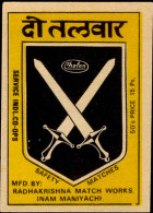 COAT OF ARMS-CROSS SWORDS-SPEAR-MATCHBOX LABELS-SAFETY MATCHES-VINTAGE LABELS FROM INDIA-MB-133 - Zündholzschachteletiketten