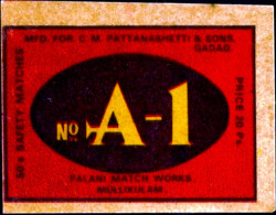 NUMBER ONE-MATCHBOX LABELS-SAFETY MATCHES-VINTAGE LABELS FROM INDIA-MB-135 - Zündholzschachteletiketten