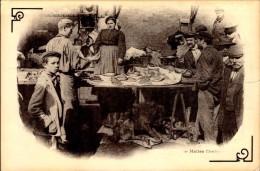 75-PARIS AUTREFOIS..AUX HALLES,LA MARCHANDE D'ARLEQUIN.  (REPRO)....CPM - France