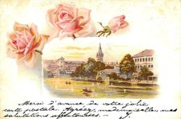 [DC4779] CARTOLINA - ROSE - FIUME CON BARCHE - Viaggiata - Old Postcard - Cartoline