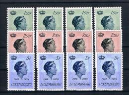 Luxemburg 1959 Herzogin 4 Mal Mi.Nr. 601/03 Kpl. Satz ** - Ungebraucht