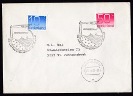 Netherlands: Cover, 1985, 2 Stamps, Special Postmark Lighthouse In IJmuiden (traces Of Use) - Period 1980-... (Beatrix)