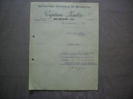 WALINCOURT NORD CAPITAINE-MAILLOT ENTREPRISE GENERALE DE BATIMENTS COURRIER DU 10 AOUT 1932 - Francia