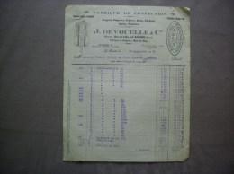 LA BASSEE NORD J.DEVOCELLE & Cie FABRIQUE DE CONFECTION RUE DU GAZ FACTURE DU 13 SEPTEMBRE 1929 - Textile & Vestimentaire