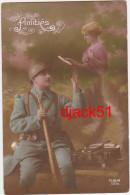 Militaria / Amitiés / Soldat (Poilu) - Fusil / Couple Amoureux / 1916 / 2 Scans - Paare